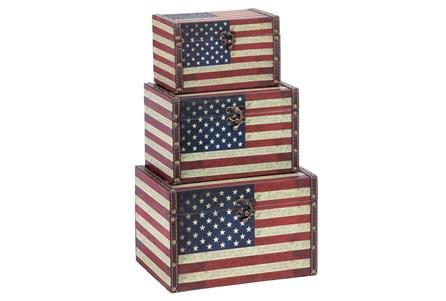 3 Piece Set Wood & Leather Box Americana