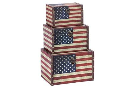 3 Piece Set Wood & Leather Box Americana - Main