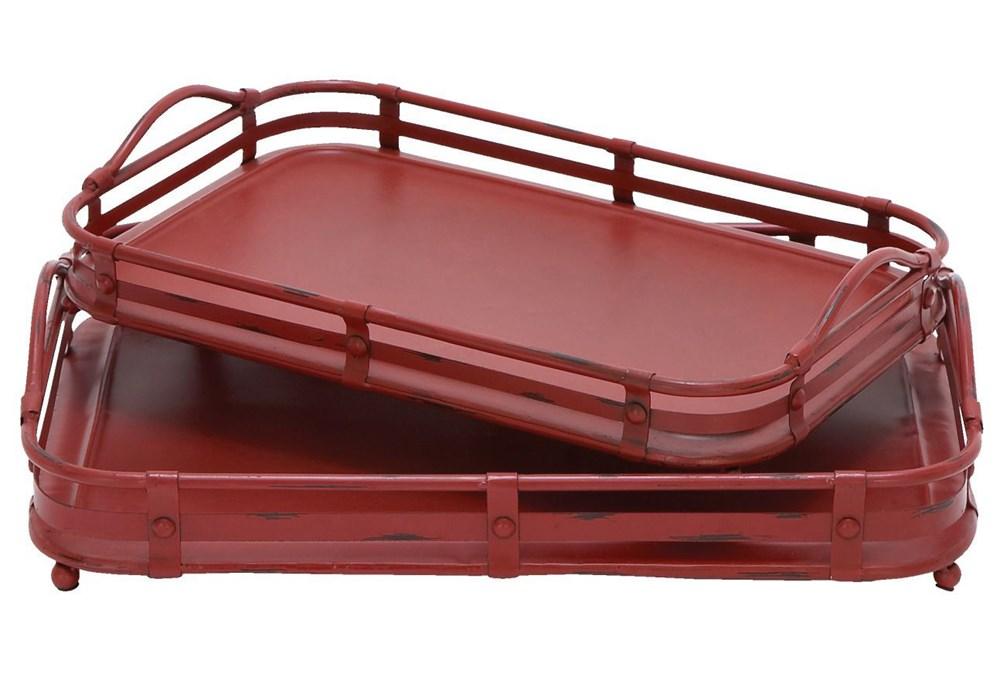 2 Piece Set Red Metal Trays