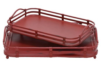 2 Piece Set Red Metal Trays