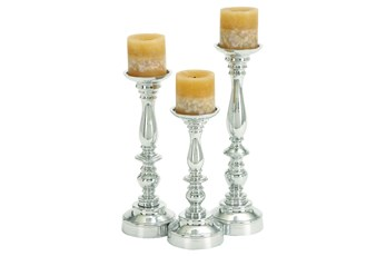 3 Piece Set Aluminum Candleholder Set