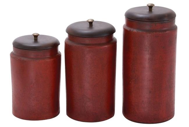 3 Piece Set Terracotta Jars - 360