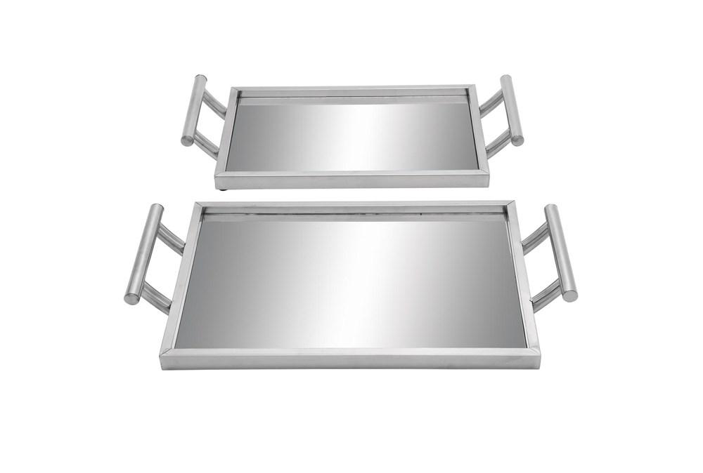 2 Piece Set Metal & Glass Trays