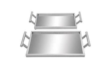 2 Piece Set Metal & Glass Trays - Main