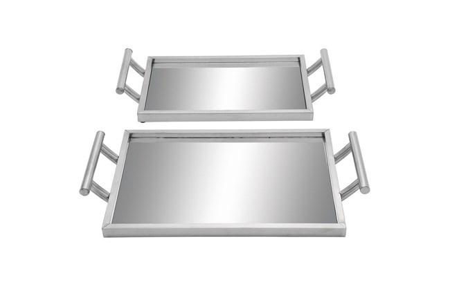 2 Piece Set Metal & Glass Trays - 360