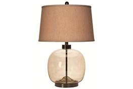 26 Inch Brown Smoke Glass + Bronze Base Round Table Lamp