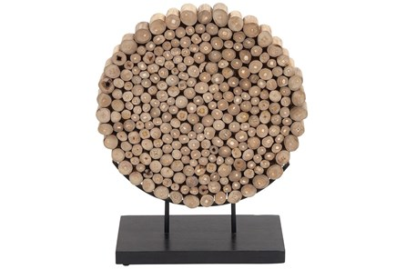 Round Teak Wooden Decor - Main