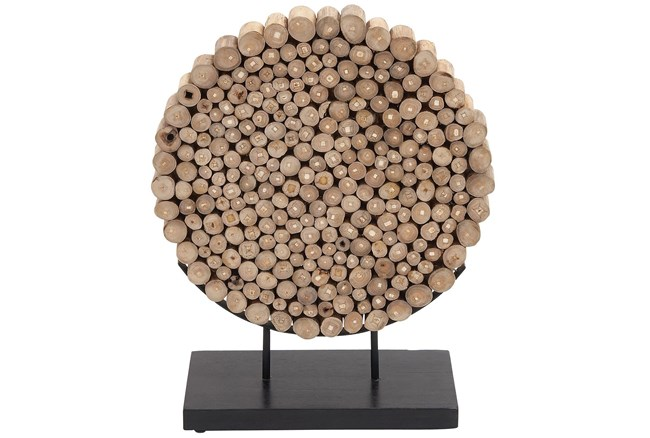 Round Teak Wooden Decor - 360