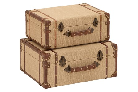 2 Piece Set Wood & Burlap Suitcases