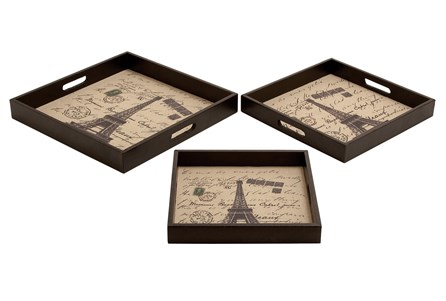 3 Piece Set Paris Wood Leather Trays