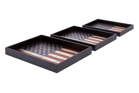 3 Piece Set America Wood & Leather Trays