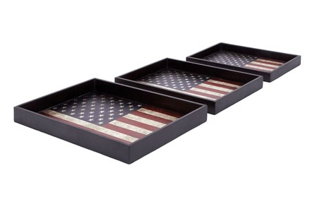 3 Piece Set America Wood & Leather Trays - Main