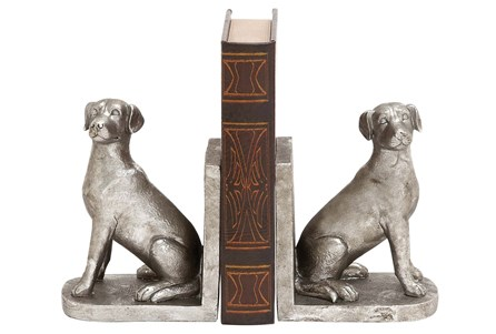 2 Piece Set Silver Dog Bookends