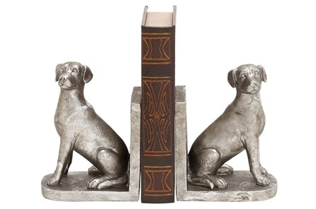 2 Piece Set Silver Dog Bookends - Main