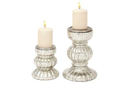 2 Piece Set Glass Candleholder Set - Main