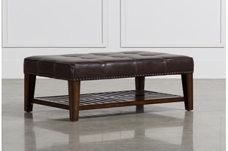 Barnaby Leather Rectangle Cocktail Ottoman - Main