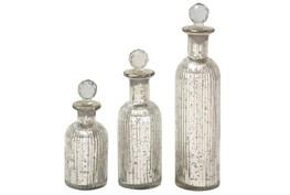 3 Piece Set Glass Stopper Bottles