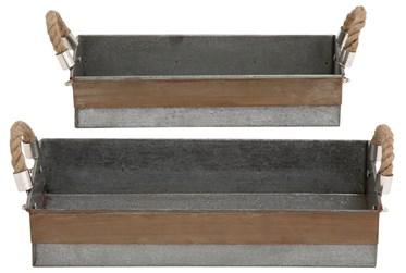 2 Piece Set Galvanized & Rope Trays