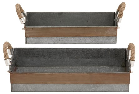 2 Piece Set Galvanized & Rope Trays