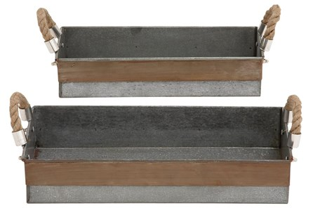 2 Piece Set Galvanized & Rope Trays - Main
