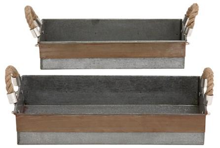 2 Piece Set Galvanized & Rope Trays - Main