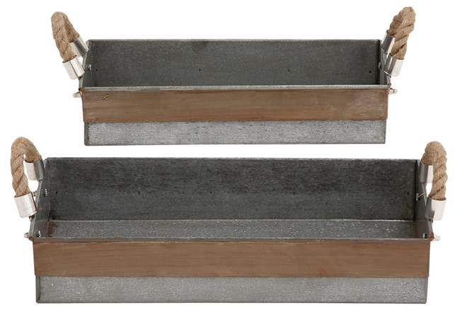 2 Piece Set Galvanized & Rope Trays - 360