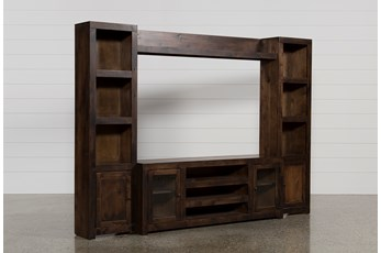 "Walton 112"" 4 Piece Entertainment Center With Glass Doors"