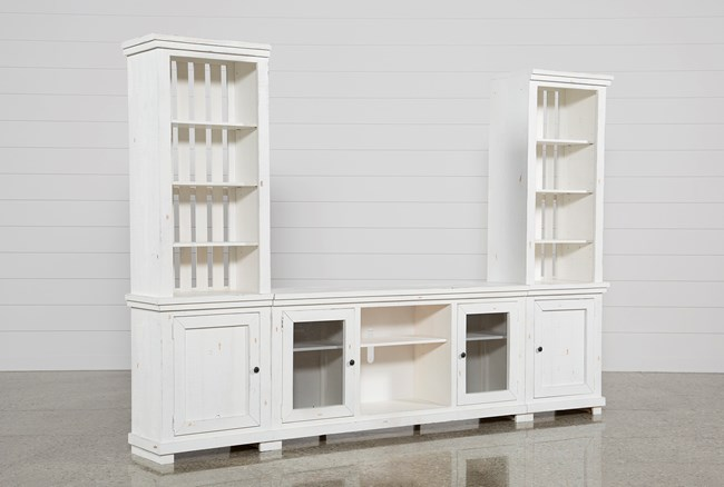 Sinclair White 3 Piece Entertainment Center - 360