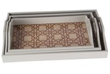 Outdoor-3 Piece Set Taupe & White Trays - Signature