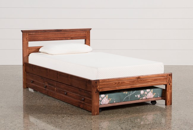 Sedona Twin Platform Bed With Trundle With Mattress   Living Spaces