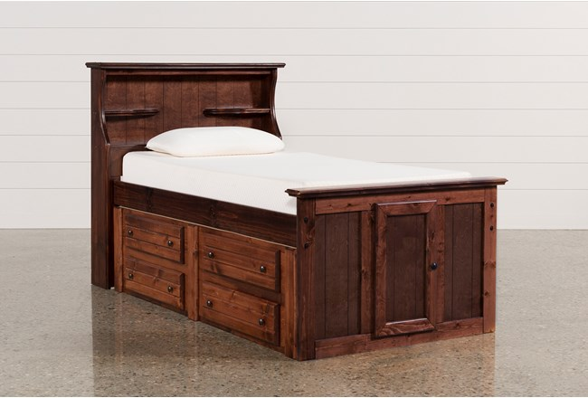 Sedona Twin Bookcase Bed With Double 4- Drawer Captains Unit - 360