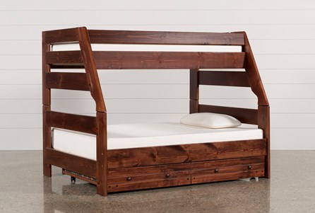 Sedona Twin Over Full Bunk Bed With Trundle With Mattress