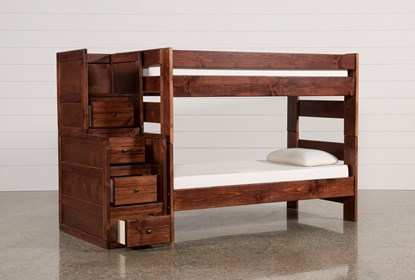 Sedona Twin Over Twin Bunk Bed With Stairway Chest Living Spaces