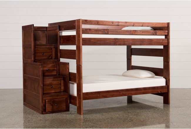 sedona full over full bunk bed with stair chest living spaces. Black Bedroom Furniture Sets. Home Design Ideas