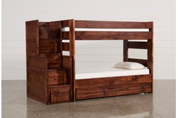 Sedona Twin Over Twin Bunk Bed With Trundle/Mattress & Stairway Chest