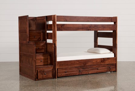 Sedona Twin Over Twin Bunk Bed With Trundle/Mattress & Stair Chest