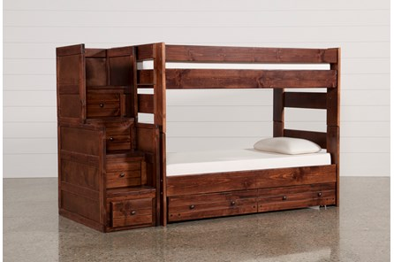 Sedona Twin Over Twin Bunk Bed With Trundle/Mattress & Stair Chest - Main
