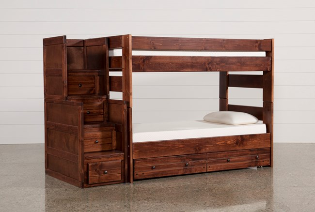 Sedona Twin Over Twin Bunk Bed With Trundle/Mattress & Stair Chest - 360