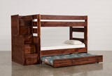 Sedona Twin Over Twin Bunk Bed With Trundle/Mattress & Stair Chest - Left