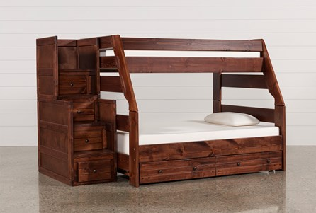 Sedona Twin Over Full Bunk Bed With Trundle/Mattress & Stairway Chest