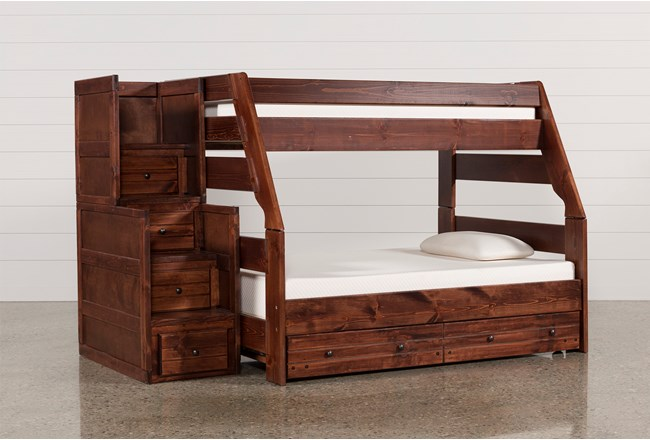 Sedona Twin Over Full Bunk Bed With Trundle Mattress Stair Chest