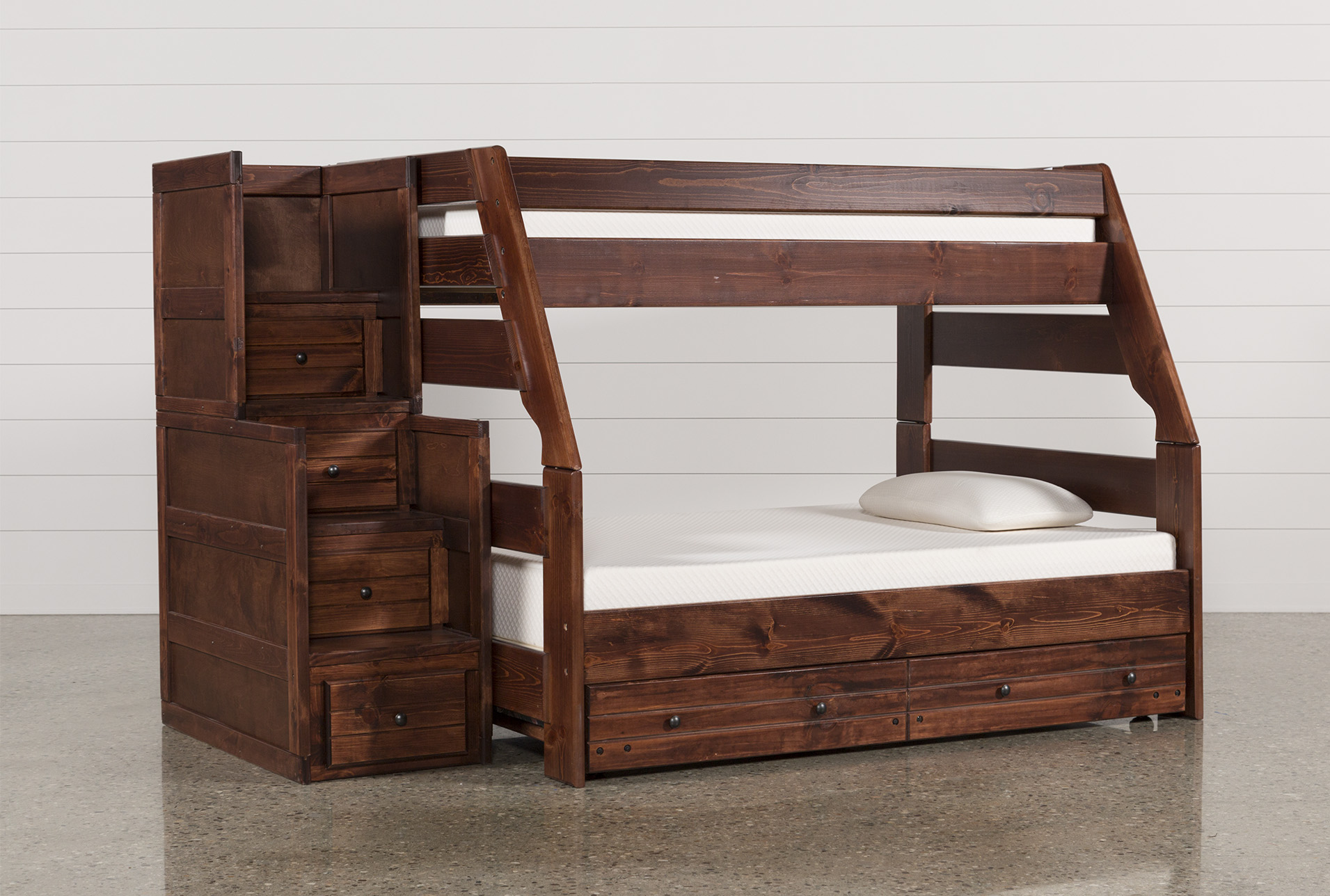 Sedona Twin Over Full Bunk Bed With Trundle/Mattress U0026 Stair Chest