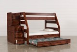 Sedona Twin Over Full Bunk Bed With Trundle/Mattress & Stair Chest - Left