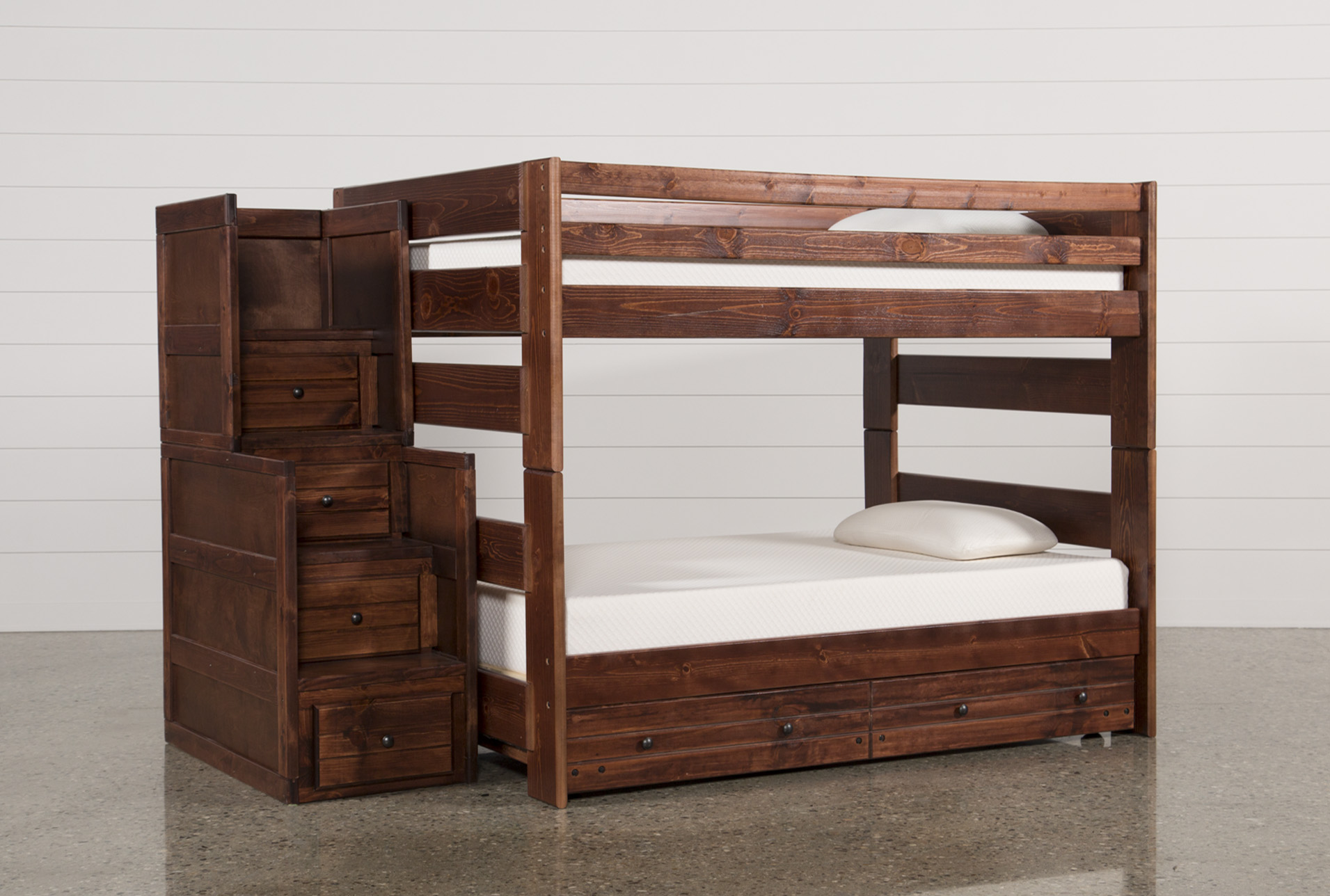 Sedona Full Over Full Bunk Bed With TrundleMattress Stair Chest
