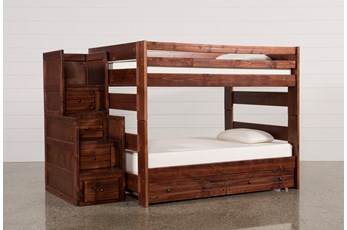 Sedona Full Over Full Bunk Bed With Trundle/Mattress & Stairway Chest