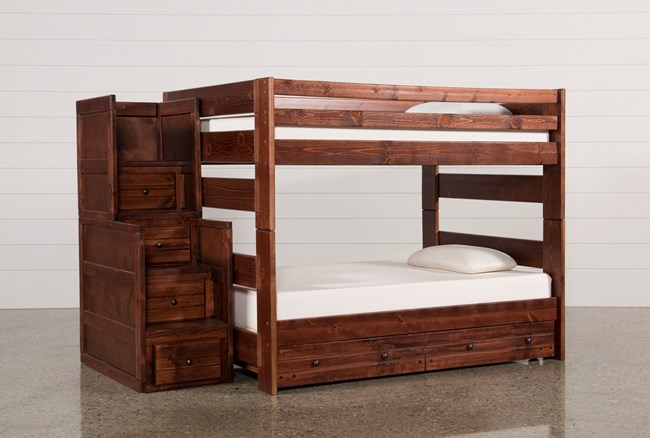 Sedona Full Over Full Bunk Bed With Trundle Mattress Stair Chest 360