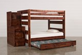 Sedona Full Over Full Bunk Bed With Trundle/Mattress & Stair Chest - Left