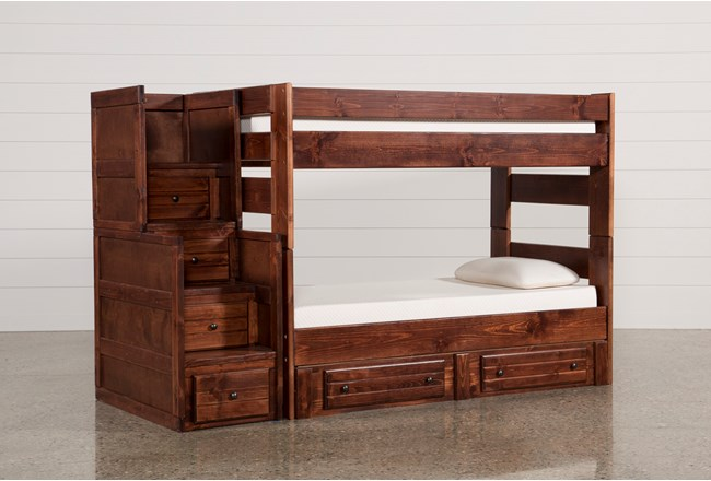 Sedona Twin Over Twin Bunk Bed With 2 Drawer Storage Unit Stairway