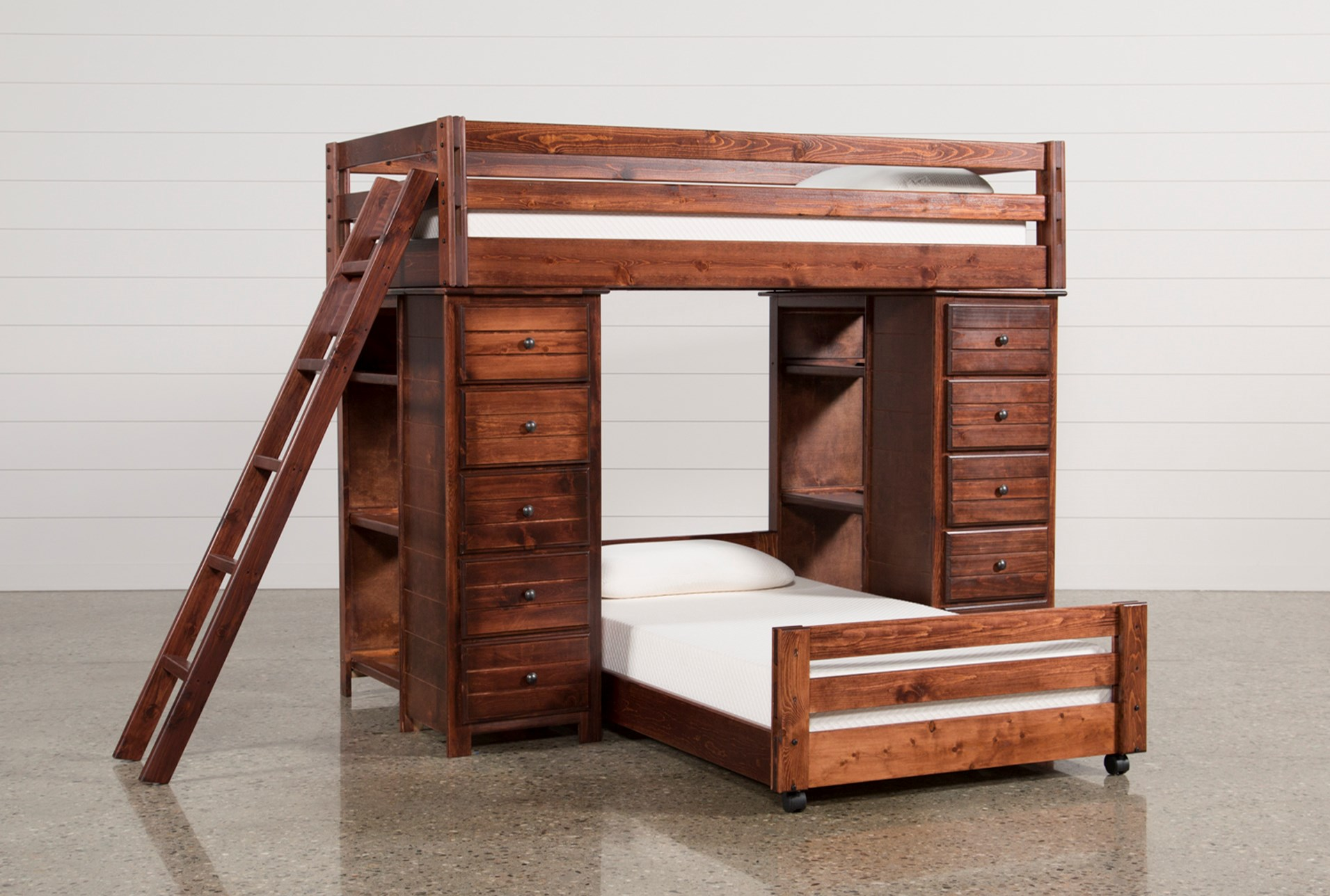 Sedona Twin Over Twin Loft Bunk With 2 Chests Living Spaces