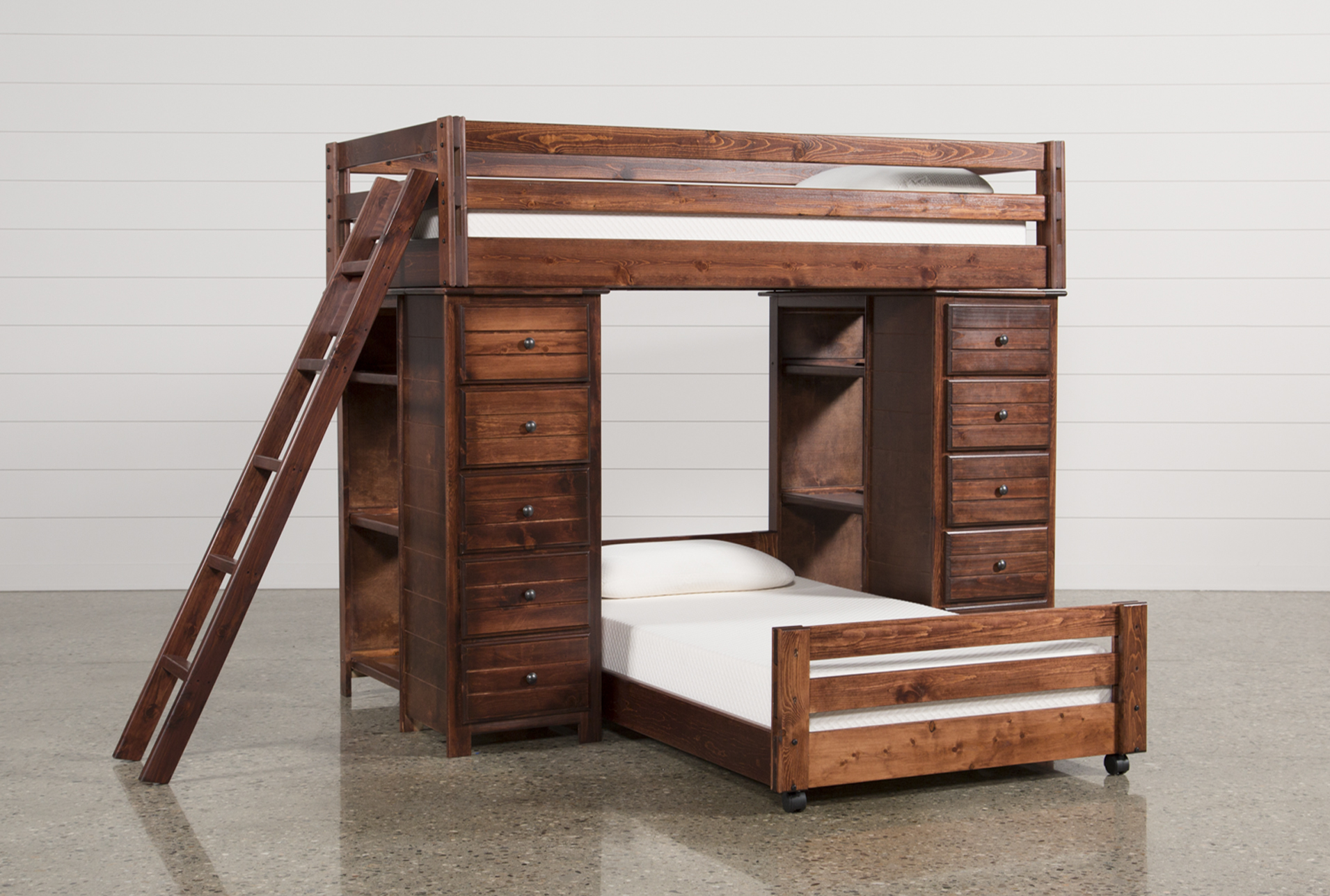 Captivating Sedona Twin Over Twin Loft Bunk With 2 Chests
